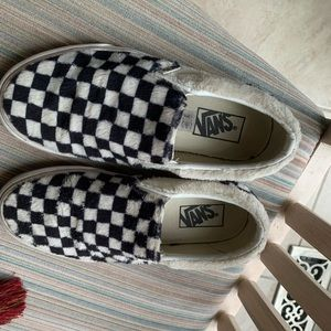 Furry checkered vans
